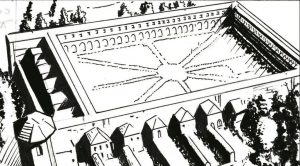 Disegno della Certosa di san Lorenzo con veduta sul chiostro grande