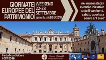 Locandina relativa alle Giornate Europee del Patrimonio con la Certosa di san Lorenzo