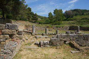 Resti del parco archeologico di Velia con pezzi di colonne e muratura