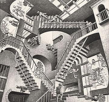 Opera di Escher con illusioni ottiche e giochi visivi